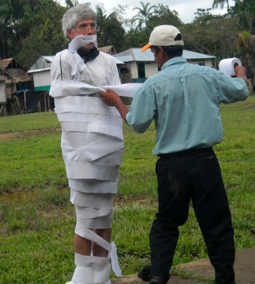 Campbell Plowden wrapped in toilet paper. Photo by Campbell Plowden/Center for Amazon Community Ecology