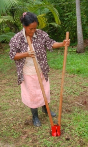 Hilda Campos with post-hole digger. Photo by Campbell Plowden/Center for Amazon Community Ecology
