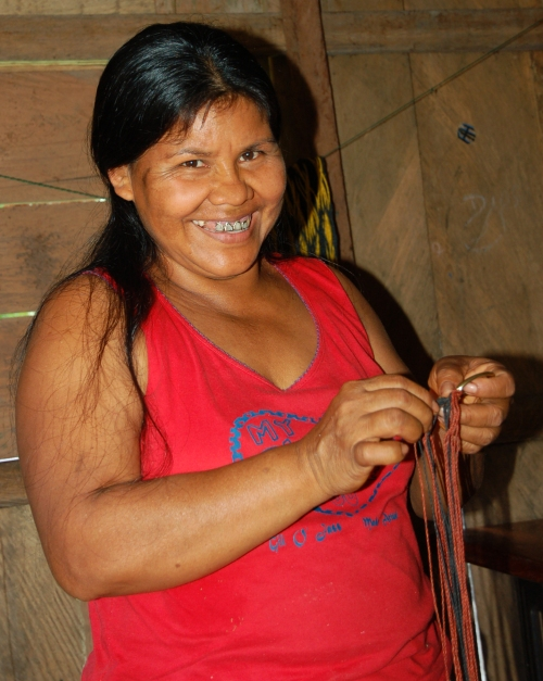 Bora artisan Lucila Flores making chambira fiber belt. Photo by Campbell Plowden/Center for Amazon Community Ecology