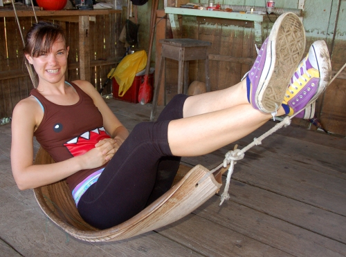 Amrit Moore in palm spate hammock. Photo by Campbell Plowden/Center for Amazon Community Ecology