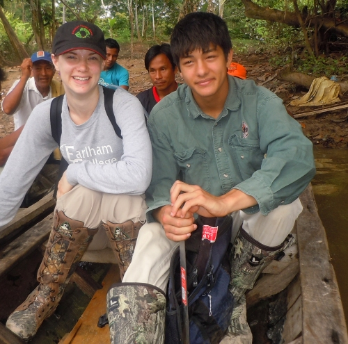 Luke Plowden and Amrit Moore on canoe at Brillo Nuevo. Photo by Campbell Plowden/Center for Amazon Community Ecology