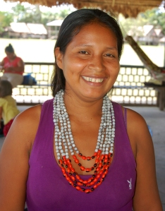 Chino artisan with rosario and huayruru seed necklace. Photo by Campbell Plowden/Center for Amazon Community Ecology