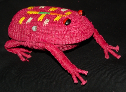 "Red woven ""jewelry box style"" frog with clasp. Photo by Campbell Plowden/Center for Amazon Community Ecology"