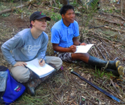 Amrit Moore and Felix drawing craft plants. Photo by Campbell Plowden/Center for Amazon Community Ecology