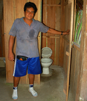 School bathroom built with CACE social rebate funds in Chino. Photo by Campbell Plowden/Center for Amazon Community Ecology