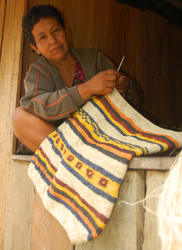 Ocaina artisan from Nueva Esperanza weaving chambira fiber shoulder bag dyed with guisador root and other plants. Photo by Campbell Plowden/Center for Amazon Community Ecology