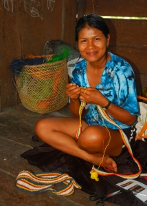 Rode making guitar strap. Photo by Campbell Plowden/Center for Amazon Community Ecology