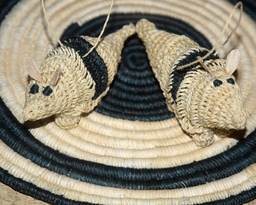 Woven armadillo ornaments made by Bora and Huitoto artisans with Center for Amazon Community Ecology. Photo by Campbell Plowden / Center for Amazon Community Ecology