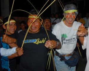 Campbell Plowden and Shebaco at Maijuna party in 2009.  Photo by German Perilla/Center for Amazon Community Ecology