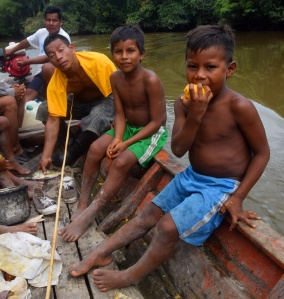 Maijuna boys in boat. Photo by Campbell Plowden/Center for Amazon Community Ecology