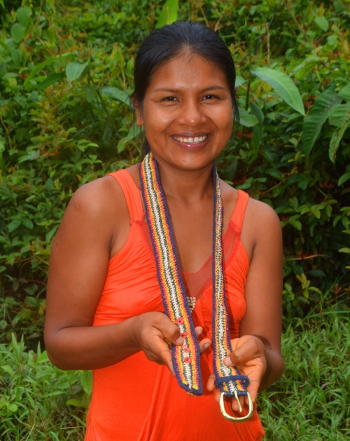 Bora artisan Rode R from Brillo Nuevo with a woven Shushupe snake model belt made in cooperation with CACE. Photo by Campbell Plowden / Center for Amazon Community Ecology