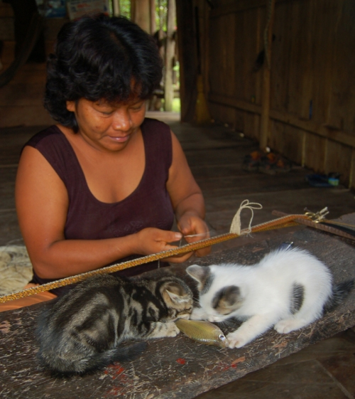 Ines weaving belt with cats eating fish 800 px