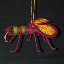 Chambira palm fiber bee ornament made by Jenaro Herrera artisan in cooperration with the Center for Amazon Community Ecology. Photo by Campbell Plowden/CACE