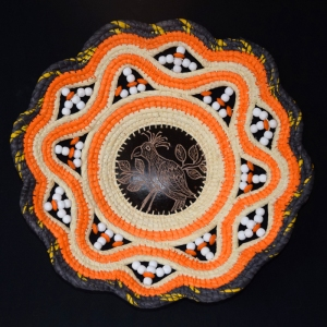 Chambira basket with etched bird calabash pod center. Photo by Campbell Plowden/CACE