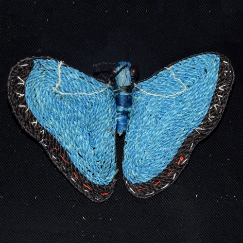 Blue morpho butterfly ornament. Photo by Campbell Plowden/Center for Amazon Community Ecology.